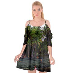 Hawaiian Beach Abstract Cutout Spaghetti Strap Chiffon Dress by bloomingvinedesign