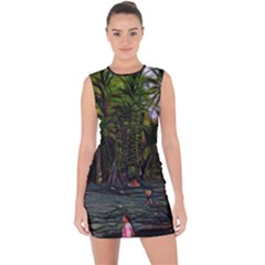 Hawaiian Beach Abstract Lace Up Front Bodycon Dress by bloomingvinedesign