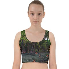 Hawaiian Beach Abstract Velvet Racer Back Crop Top by bloomingvinedesign