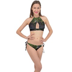 Hawaiian Beach Abstract Cross Front Halter Bikini Set by bloomingvinedesign