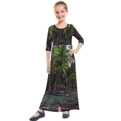 Hawaiian Beach Abstract Kids  Quarter Sleeve Maxi Dress by bloomingvinedesign
