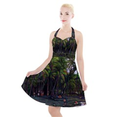 Hawaiian Beach Abstract Halter Party Swing Dress  by bloomingvinedesign