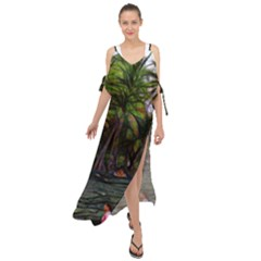 Hawaiian Beach Abstract Maxi Chiffon Cover Up Dress by bloomingvinedesign