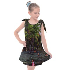 Hawaiian Beach Abstract Kids  Tie Up Tunic Dress by bloomingvinedesign