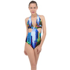 Driving In A Chicago Rainbow Halter Front Plunge Swimsuit