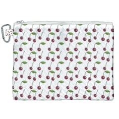 Musical Cherries Pattern Canvas Cosmetic Bag (xxl) by emilyzragz
