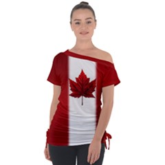 Canada Flag Shirts Off Shoulder Tie Up Tee by CanadaSouvenirs