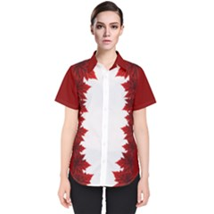 Canada Maple Leaf Women s Short Sleeve Shirt Button Down by CanadaSouvenirs
