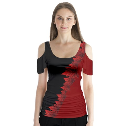 Canada Maple Leaf Butterfly Sleeve Cutout Tee  by CanadaSouvenirs