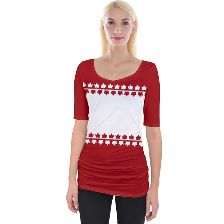 Canada Maple Leaf Wide Neckline Tee