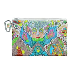Angel Pyramid Blaster Canvas Cosmetic Bag (large) by chellerayartisans