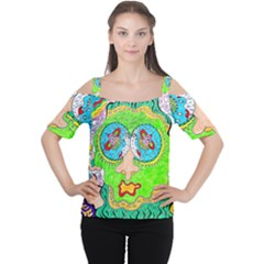 Supersonic Cosmic Galaxy Eyes Cutout Shoulder Tee