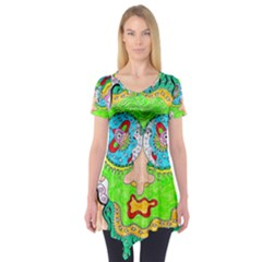 Supersonic Cosmic Galaxy Eyes Short Sleeve Tunic