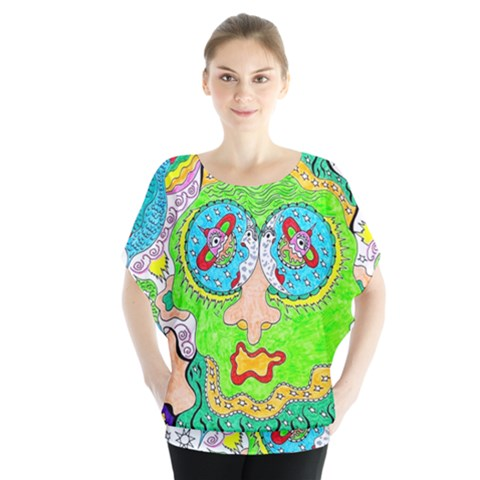 Supersonic Cosmic Galaxy Eyes Blouse by chellerayartisans