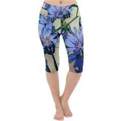 Blue Wildflowers Lightweight Velour Cropped Yoga Leggings