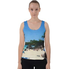 Day At The Beach With Umbrella Velvet Tank Top