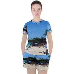 Day At The Beach With Umbrella Women s Tee And Shorts Set