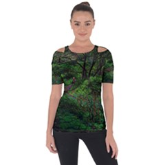 Wilderness Crossing Shoulder Cut Out Short Sleeve Top by bloomingvinedesign