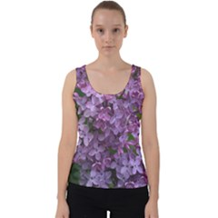 Purple Flowers With Green Velvet Tank Top by SusanFranzblau
