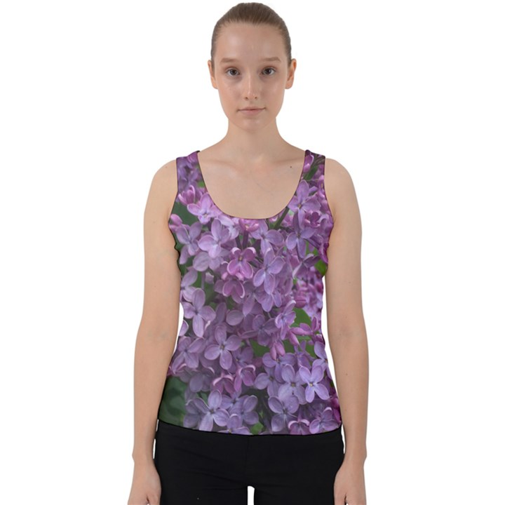 Purple Flowers with Green Velvet Tank Top
