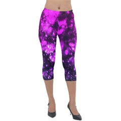 Pink Bokeh Light Hearts Lightweight Velour Capri Leggings