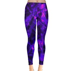 Purple Bokeh Light Dragonflies Inside Out Leggings by bloomingvinedesign