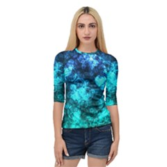Blue Ocean Bokeh Lights Quarter Sleeve Raglan Tee by bloomingvinedesign