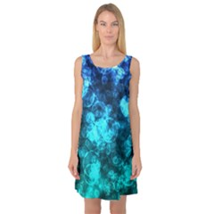 Blue Ocean Bokeh Lights Sleeveless Satin Nightdress by bloomingvinedesign