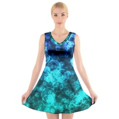 Blue Ocean Bokeh Lights V Neck Sleeveless Dress by bloomingvinedesign