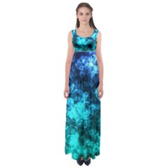 Blue Ocean Bokeh Lights Empire Waist Maxi Dress by bloomingvinedesign