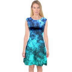 Blue Ocean Bokeh Lights Capsleeve Midi Dress by bloomingvinedesign