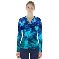 Blue Ocean Bokeh Lights V Neck Long Sleeve Top by bloomingvinedesign