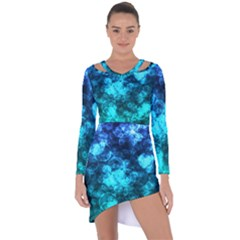 Blue Ocean Bokeh Lights Asymmetric Cut Out Shift Dress