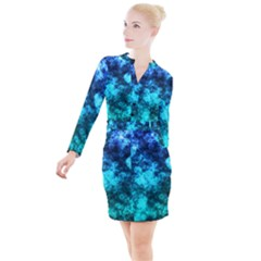 Blue Ocean Bokeh Lights Button Long Sleeve Dress by bloomingvinedesign