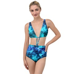 Blue Ocean Bokeh Lights Tied Up Two Piece Swimsuit by bloomingvinedesign