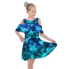 Blue Ocean Bokeh Lights Kids  Shoulder Cutout Chiffon Dress by bloomingvinedesign