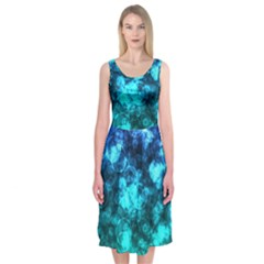 Blue Ocean Bokeh Lights Midi Sleeveless Dress by bloomingvinedesign