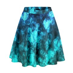 Blue Ocean Bokeh Lights High Waist Skirt by bloomingvinedesign