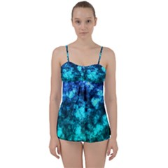 Blue Ocean Bokeh Lights Babydoll Tankini Set by bloomingvinedesign