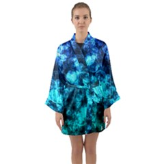 Blue Ocean Bokeh Lights Long Sleeve Kimono Robe by bloomingvinedesign