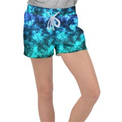 Blue Ocean Bokeh Lights Women s Velour Lounge Shorts by bloomingvinedesign