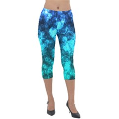 Blue Ocean Bokeh Lights Lightweight Velour Capri Leggings  by bloomingvinedesign