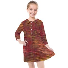 Orange Dragonscales Pattern Kids  Quarter Sleeve Shirt Dress by bloomingvinedesign
