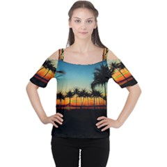 Sunset From The Car Cutout Shoulder Tee