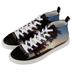 Nine Oclock Sunrise In Fall Men s Mid Top Canvas Sneakers by bloomingvinedesign
