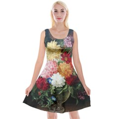 Vicker Blumenstilleben Reversible Velvet Sleeveless Dress