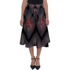 Blurred Lines Red And Black Designs By Flipstylez Designs Perfect Length Midi Skirt