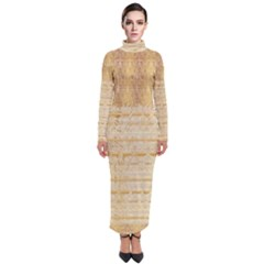 Seamless Gold Lace Nature Design By Flipstylez Designs Turtleneck Maxi Dress