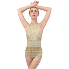 Seamless Gold Lace Nature Design By Flipstylez Designs Cross Front Low Back Swimsuit