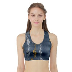 Gold And Silver Blue Jean Look By Flipstylez Designs Sports Bra With Border by flipstylezdes